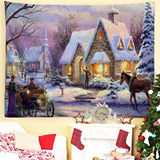 Baccessor Christmas Tapestries Wall Hanging,Winter Snow Classic Scene Tapestry Oil Painting,Christmas Decor for Living Room, Bedroom, Dorm Room - 90