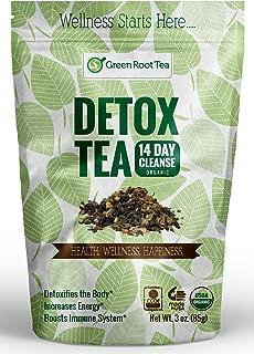 Organic Green Detox Tea - 14 Day Weight Loss Cleanse (28 Servings) - Liver, Skin & Digestion Detox - Teatox Slimming Skinny Tea - Green Root Tea