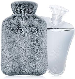 IZTOSS 湯たんぽ 容量2L エコ湯タンポ お湯入れ 注水式 柔らかく温かいなカバー付き 防寒グッズ 足 冷え対策 疲れ緩和 生理期最適 (グレー, 2L)
