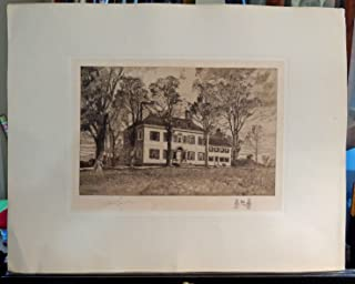 Washington's Headquarters, Morristown, NJ (George Washington): Robert Shaw Etching, Signed & Numbered Artist's Proof, Chine-colle with remarque, 1906