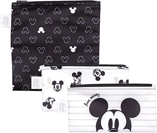 Bumkins Disney Sandwich Bags/Snack Bags, Reusable, Washable, Food Safe, BPA Free, Pack of 3 - Love, Mickey