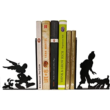 HeavenlyKraft Comic Character Decorative Metal Bookend Non Skid Book End Book Stopper for Home/Office Decor/Shelves 5.9 X 3.9 X 3.14 Inch Per Piece