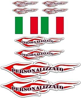 Adesivi Personalizzati Moto Bici Fiamme con Bandiera - Vinile lucido HD Made in Italy