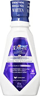 Crest 3D White Luxe Diamond Strong Anticavity Fluoride Mouth Rinse Clean Mint 16 Oz, (Pack of 2)