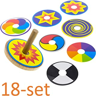 Wooden Spinning Top For Kids. Set of 2 Spin Tops + 16 Colorful Rings. Spins 1-2 Minutes. Fun Gift for Children 2 3 4 5 6 Years Old, Boys + Girls. For Toddler Motoric Skills. Perpetual Motion. Under 10