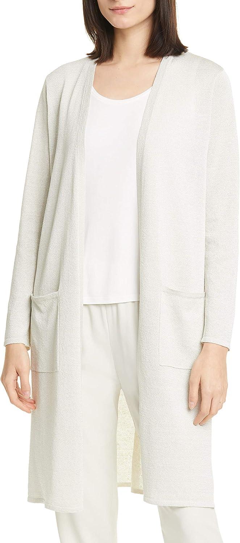 Eileen Fisher Womens Organic Linen Blend Metallic Cardigan Sweater