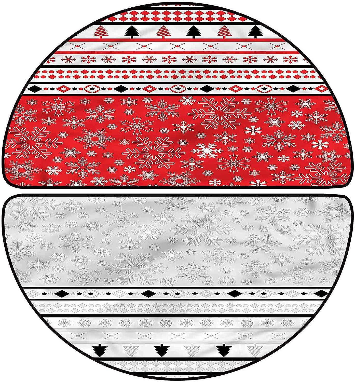 Christmas Half Limited time cheap sale Round Bath Mat Finally popular brand Geometric 30