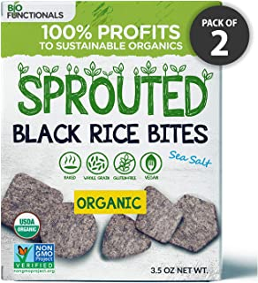 Organic Sprouted Black Rice Crackers – Gluten Free, Vegan, Paleo Snacks – Sea Salt Flavor (1)