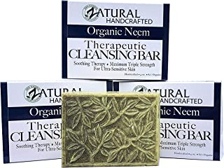 Neem Soap Bar Ultra-Sensitive Skin-Soothing Therapy-Relieves skin irritation, itching, flaking, dryness. (3 Count)