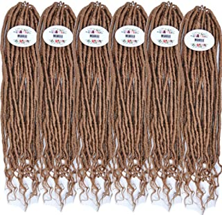 MSBELLE 6 Packs/lot Crochet Goddess Locs Braids Straight Hair with Curly Ends Synthetic Faux Locs Crochet Braiding Hair Extensions Light Brown