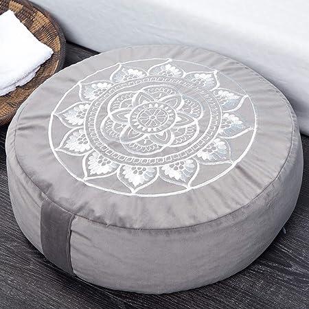 "Florensi Meditation Cushion (16""x16""x5""), Large Velvet Meditation Pillow, Premium Yoga Pillow for Women and Men, Yoga Cushion, Meditation Pillows for Sitting on Floor, Buckwheat Meditation Cushions"