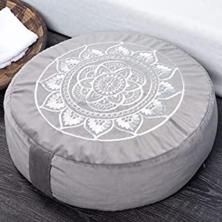 "Florensi Meditation Cushion (16""x16""x5""), Large Velvet Meditation Pillow, Premium Yoga Pillow for Women and Men, Yoga Cush..."