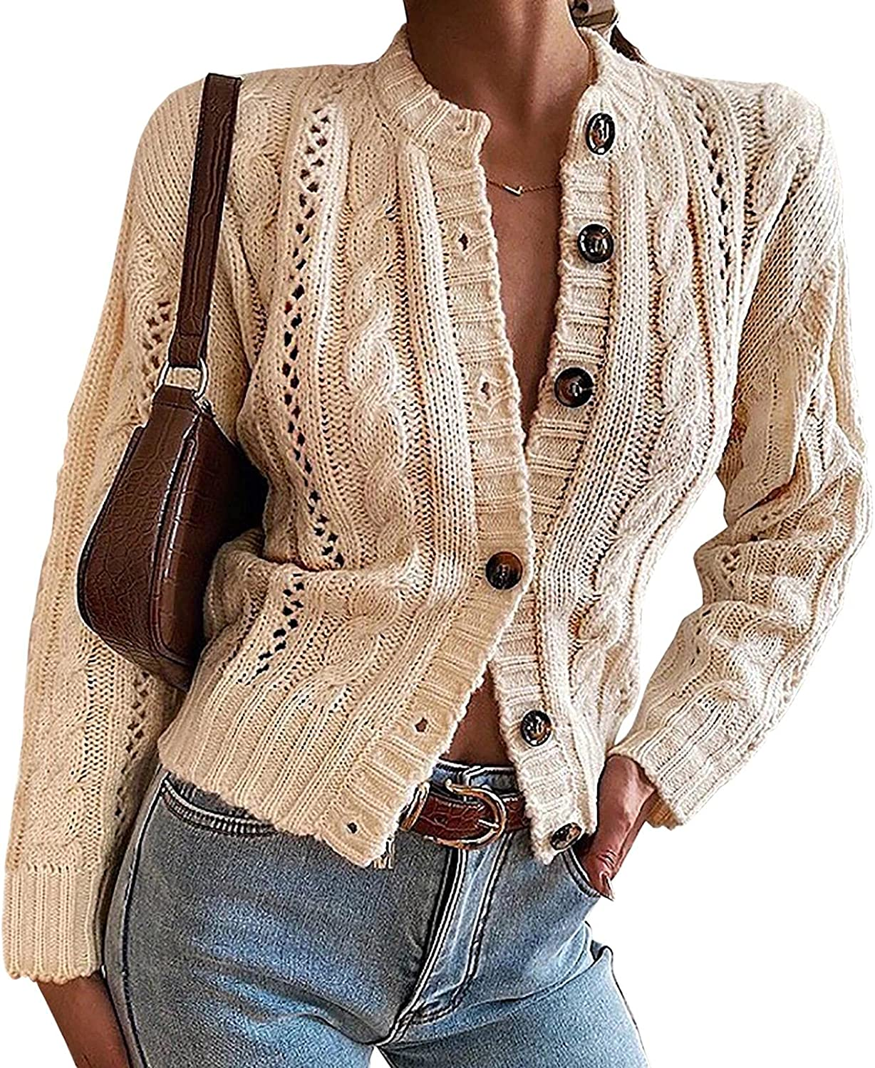 Dellytop Womens Cable Knit Button Down Cropped Cardigan Sweaters Boho Open Front Long Sleeve Crochet Cardigans Outerwear