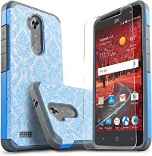 Star Shock Absorption Cases Compatible for ZTE MAX XL/ZTE Max Blue/ZTE Blade Max 3 Phone with [Premium HD Screen Protector Included] Dual Layers Impact Advanced Protective Cover-Blue Lace