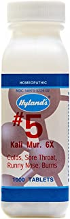 Cold Medicine and Sore Throat Relief, Natural Treatment of Colds, Sore Throats, Runny Nose, and Burns, Hyland's #5 Cell Salt Kali Muriaticum 6X Tablets, 1000 Count