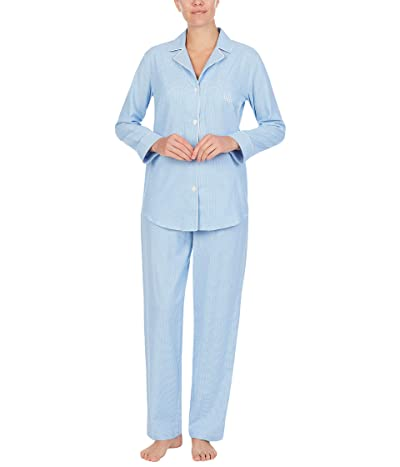 LAUREN Ralph Lauren Classic Woven Long Sleeve Notch Collar Long Pajama Set (Blue/White Print) Women
