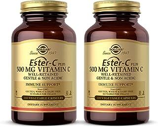 Solgar Ester-C Plus 500 mg Vitamin C (Ascorbate Complex), 100 Vegetable Capsules - Pack of 2 - Gentle & Non Acidic - Antio...