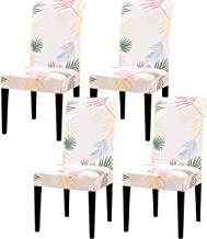 Subrtex Stretch Dining Room Chair Covers Slipcovers Set Removable Washable Soft Chair Protector Armchair Leaf-Printed Furn...