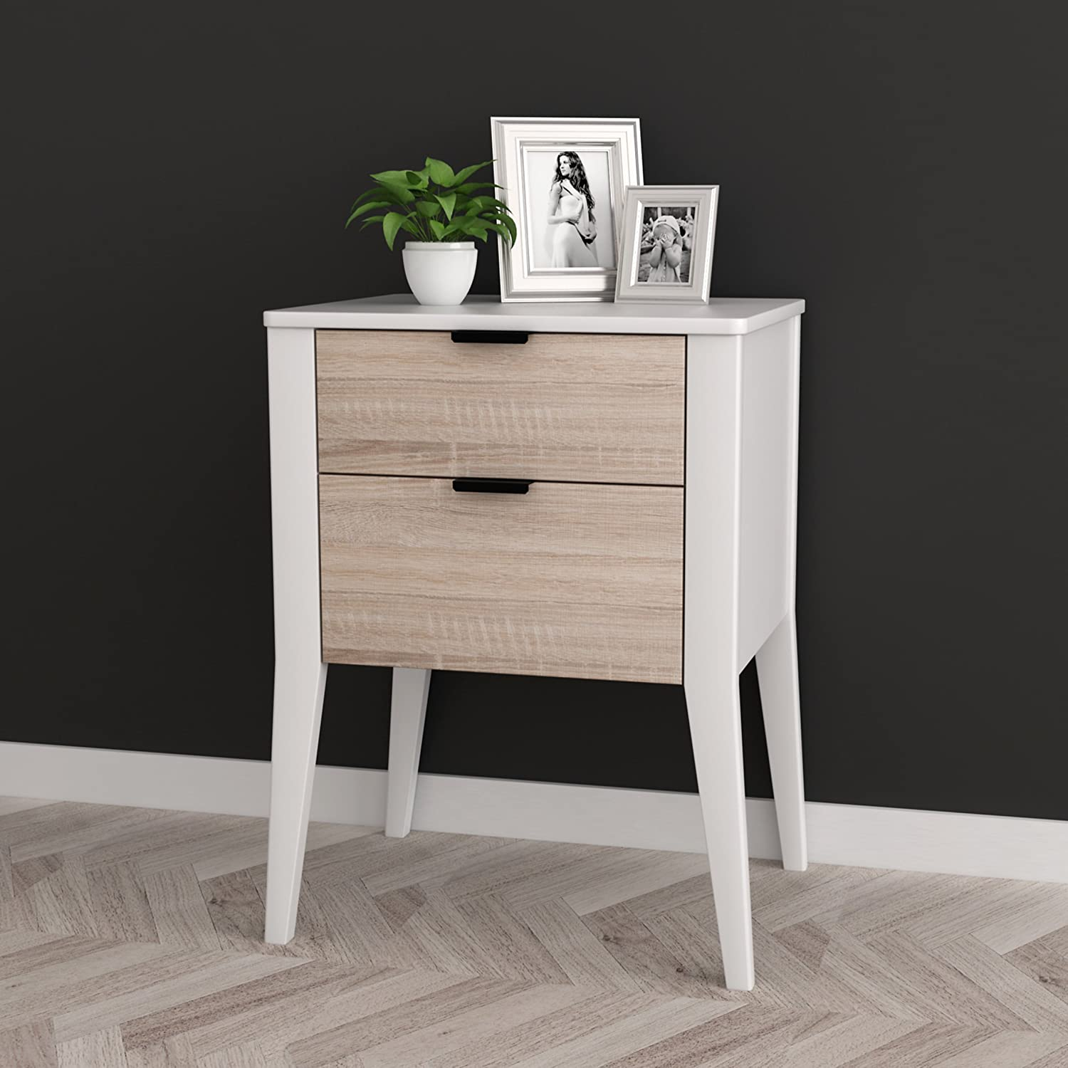 White   Sonoma Finish Oak Side End Table Nightstand with Two Storage Drawer 26 H