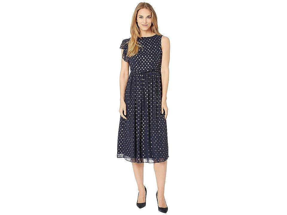 CHAPS Flutter Sleeve Metallic Dot Evening Dress (Navy/Silver) Women