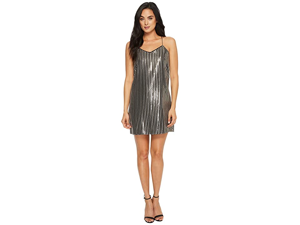 CeCe Mia Stripe Sequin Slip Dress (Rich Black) Women