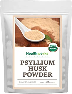 Healthworks Psyllium Husk Powder (32 Ounces / 2 Pounds) | Raw | Certified Organic | Finely Ground Powder from India | Keto...