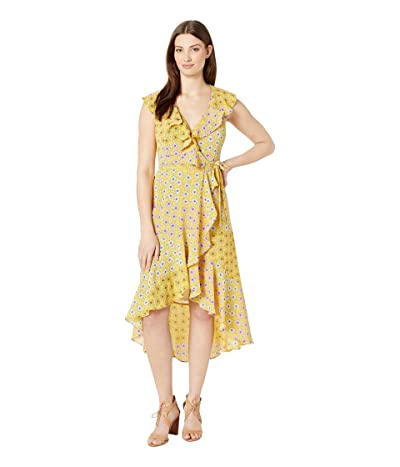 Donna Morgan Sleeveless V-Neck Maxi Dress (Mustard/Shell Pink Multi) Women