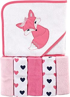 Luvable Friends Unisex Baby Hooded Towel with Five Washcloths, Foxy, One Size