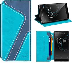 Smiley Sony Xperia XA1 Wallet Case, Mobesv Sony Xperia XA1 Leather Case/Phone Flip Book Cover/Viewing Stand/Card Holder for Sony Xperia XA1, Stylish Aqua/Dark Blue