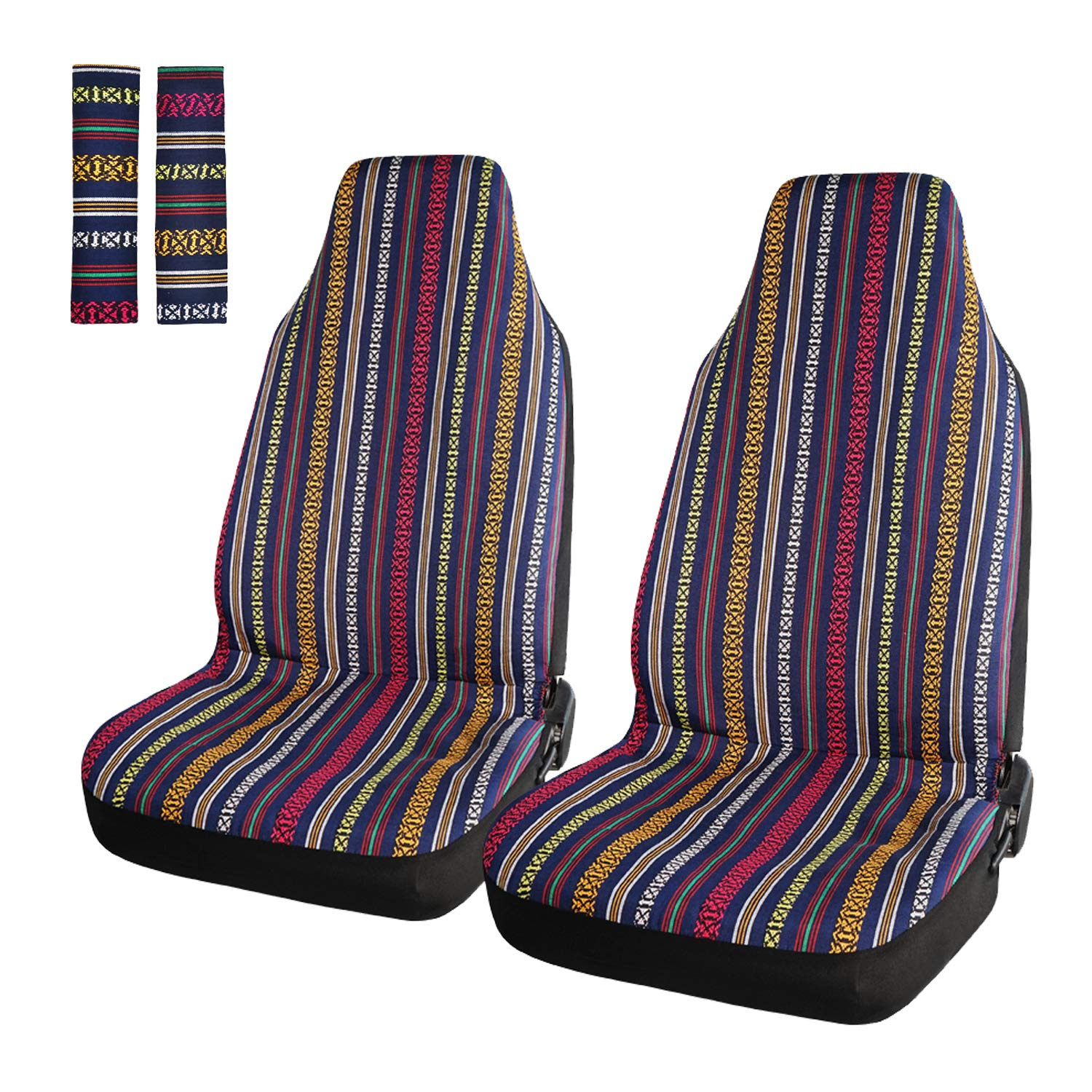 4Pcs Blue INFANZIA Baja Front Seat Covers Saddle Blanket Auto Seat Cover with Seat Belt Covers Fit Car Truck Van SUV