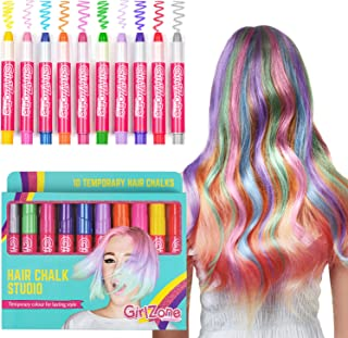 GirlZone: Hair Chalk Birthday Gifts For Girls, 10 Colorful Hair Chalk Pens. Temporary Color, Presents For Girls Age 4 5 6 7 8 9 10 Years Old