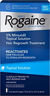 Men's Rogaine Extra Strength 5% Minoxidil Topical Solution for Hair Loss and Hair Regrowth, Topical Treatment for Thinning Hair, 1-Month Supply