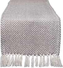 """DII CAMZ11265 Braided Cotton Table Runner, Perfect for Spring, Fall Holidays, Parties and Everyday Use 15x72"""" Gray"""