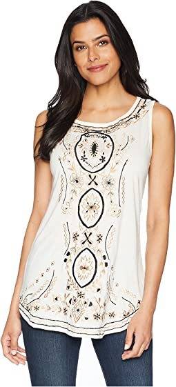 Bethia Classy Embroidered Tank with Sewn On Stone Accents