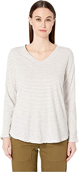Organic Cotton Striped V-Neck Top