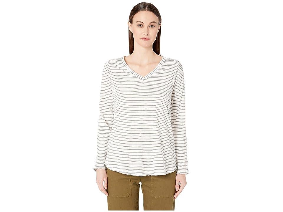 Eileen Fisher Organic Cotton Striped V-Neck Top (White) Women