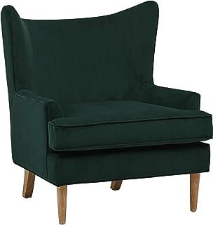 Amazon Brand – Rivet Chelsea Velvet Wingback Accent Chair, Evergreen