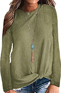 Womens Casual Top Long Sleeve Cute Twist Knot Waffle Knit...