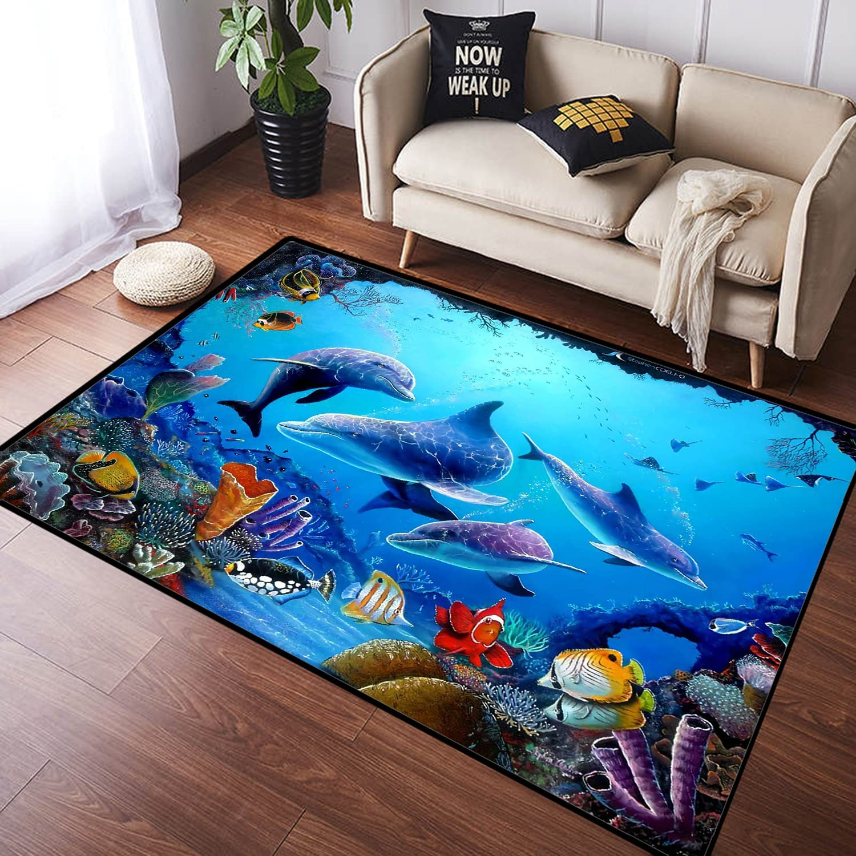 ZOMOY Long Kansas City Mall Floor Very popular Mat Carpet Colorful Dolphin World Tro Sea Ocean