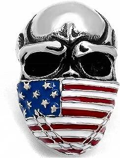 MENDINO Mens Stainless Steel Band Heavy Ring American Flag Mask Skull Biker