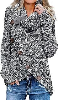 Women's Chunky Turtle Cowl Neck Knit Wrap Asymmetric Hem...