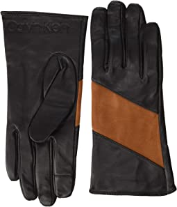 Spliced Color Block Leather Touch Gloves