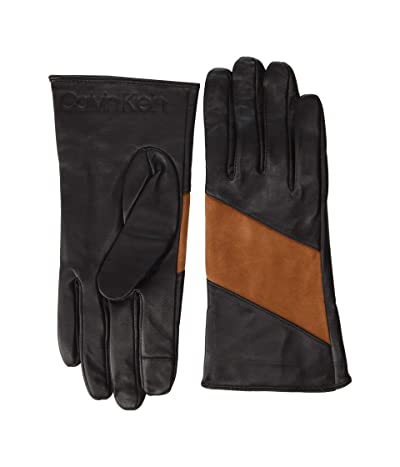 Calvin Klein Spliced Color Block Leather Touch Gloves (Chocolate) Over-Mits Gloves