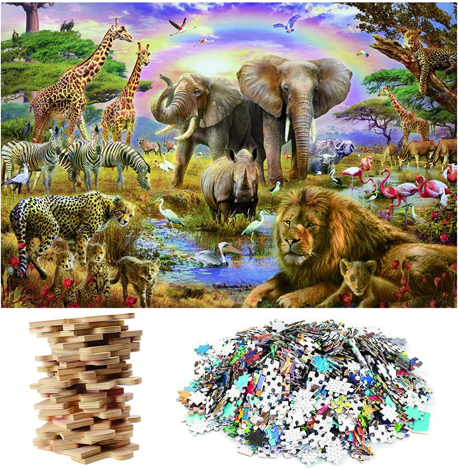 IYOYI Animal Wooden Jigsaw 1000 Piece Puzzles with Accessories Challenging Game for Adults Teens Families Entertainment Games Unique Birthday Xmas Gifts