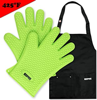 FERS BBQ Cooking Silicone Gloves Mitts & Apron Set | Barbecue Grill Gloves with Nifty Black Apron - Multiple Pockets & Adjustable Straps (Green)
