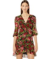 The Kooples - Long-Sleeved, Short, Belted Dress with Ruffled Trim in a Painted Roses Print