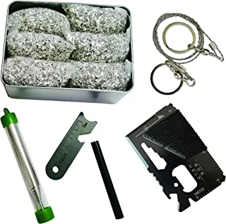 Emergency Fire Starter Magnesium 6 Bags 99.99% Pure +Ferro Rods Striker + 14 in 1 Tool or Weatherproof Matches + Collapsib...
