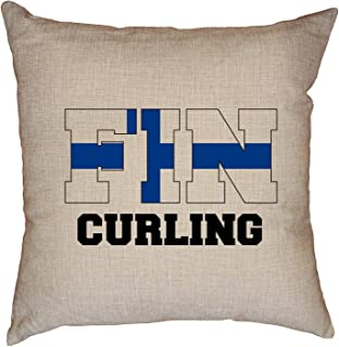 Hollywood Thread Finland Olympic - Curling - Flag - Silhouette Decorative Linen Throw Cushion Pillow Case with Insert