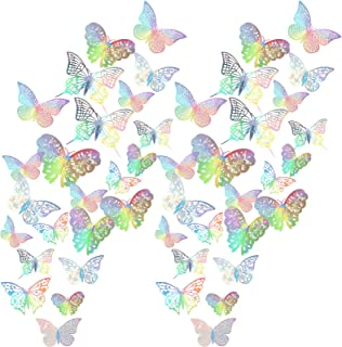 120 Pieces 5 Styles 3D Hollow Butterfly Wall Decals Sticker Decorative Wall Art Wall Decal 3 Sizes for Room Home Nursery C...