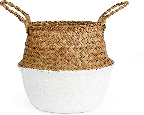 BlueMake Woven Seagrass Belly Basket For Storage Laundry Picnic Plant Pot Cover And Grocery And Toy Storage Large White